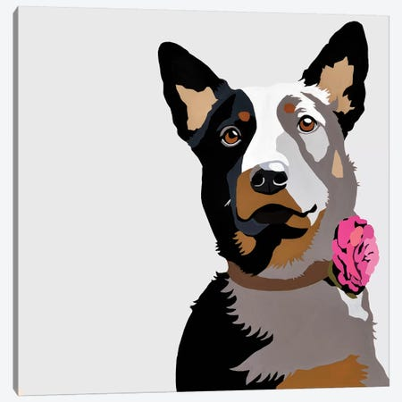 Jasper With A Pink Flower Canvas Print #AHM71} by Julie Ahmad Canvas Art