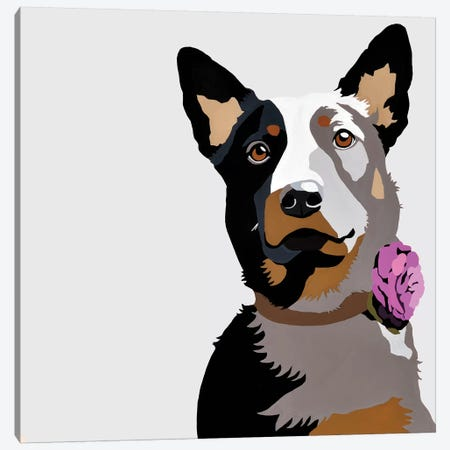 Jasper With A Purple Flower Canvas Print #AHM72} by Julie Ahmad Canvas Artwork
