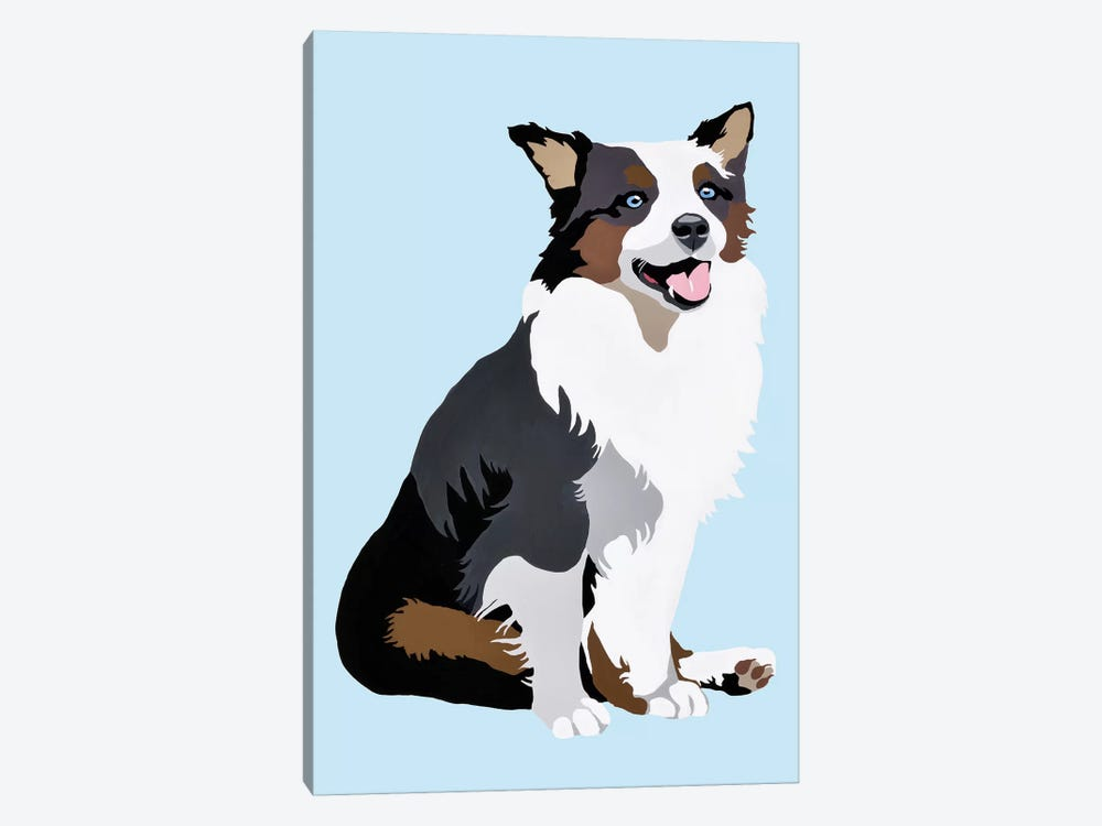 Woof On Blue by Julie Ahmad 1-piece Canvas Art