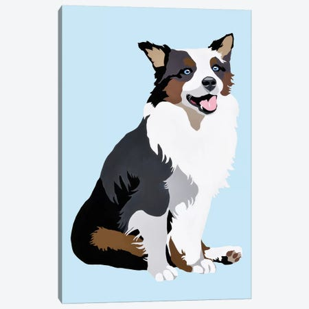 Woof On Blue Canvas Print #AHM88} by Julie Ahmad Art Print