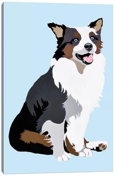 Woof On Blue Canvas Art Print