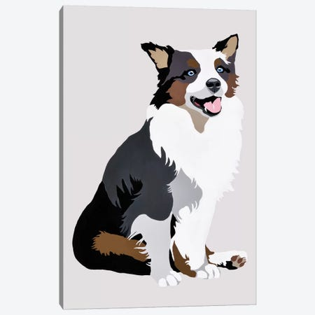 Woof On Gray Canvas Print #AHM89} by Julie Ahmad Art Print
