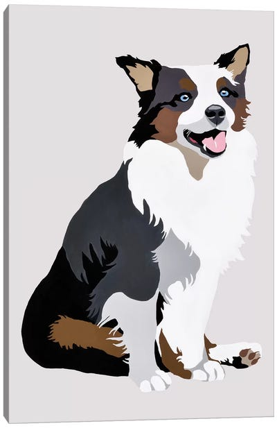 Woof On Gray Canvas Art Print