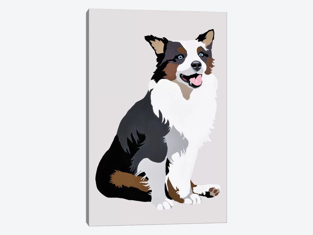 Woof On Gray by Julie Ahmad 1-piece Art Print