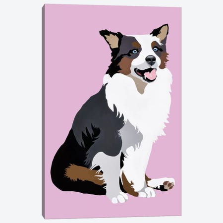 Woof On Lavender Canvas Print #AHM90} by Julie Ahmad Canvas Artwork