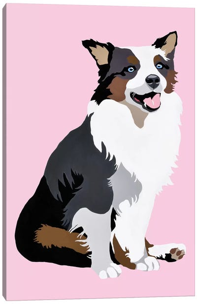 Woof On Pink Canvas Art Print