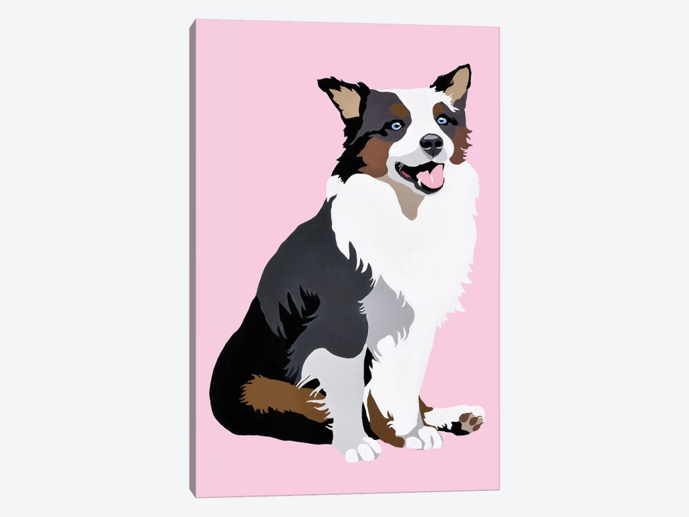 Woof On Pink by Julie Ahmad 1-piece Canvas Art