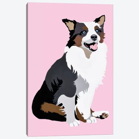 Woof On Pink Canvas Print #AHM91} by Julie Ahmad Canvas Art