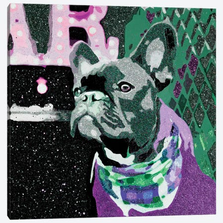 Biggie In Purple Canvas Print #AHM9} by Julie Ahmad Canvas Art Print