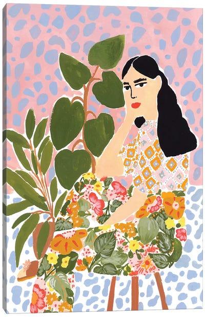Floral Lady Canvas Art Print