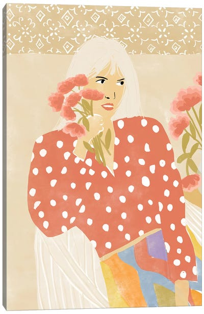 Girl And Her Flower Canvas Art Print