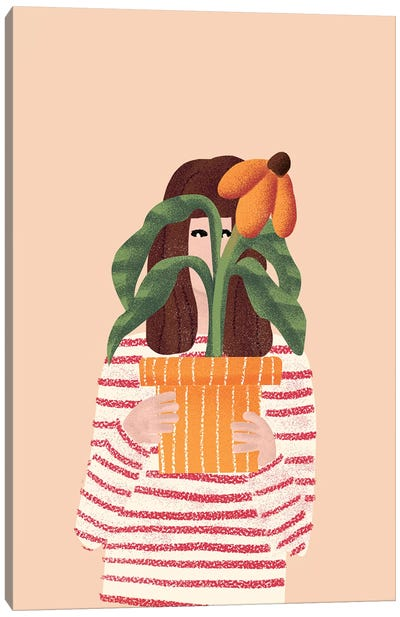 Girl And Her Plant Canvas Art Print