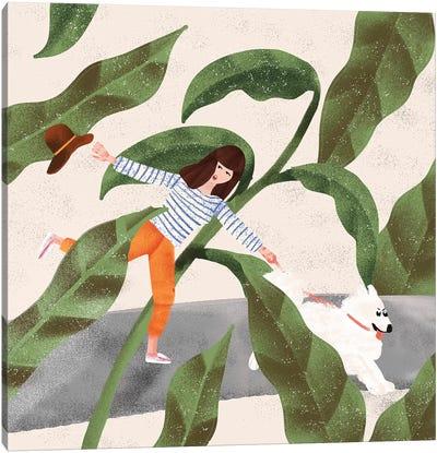 Walking My Dog Canvas Art Print