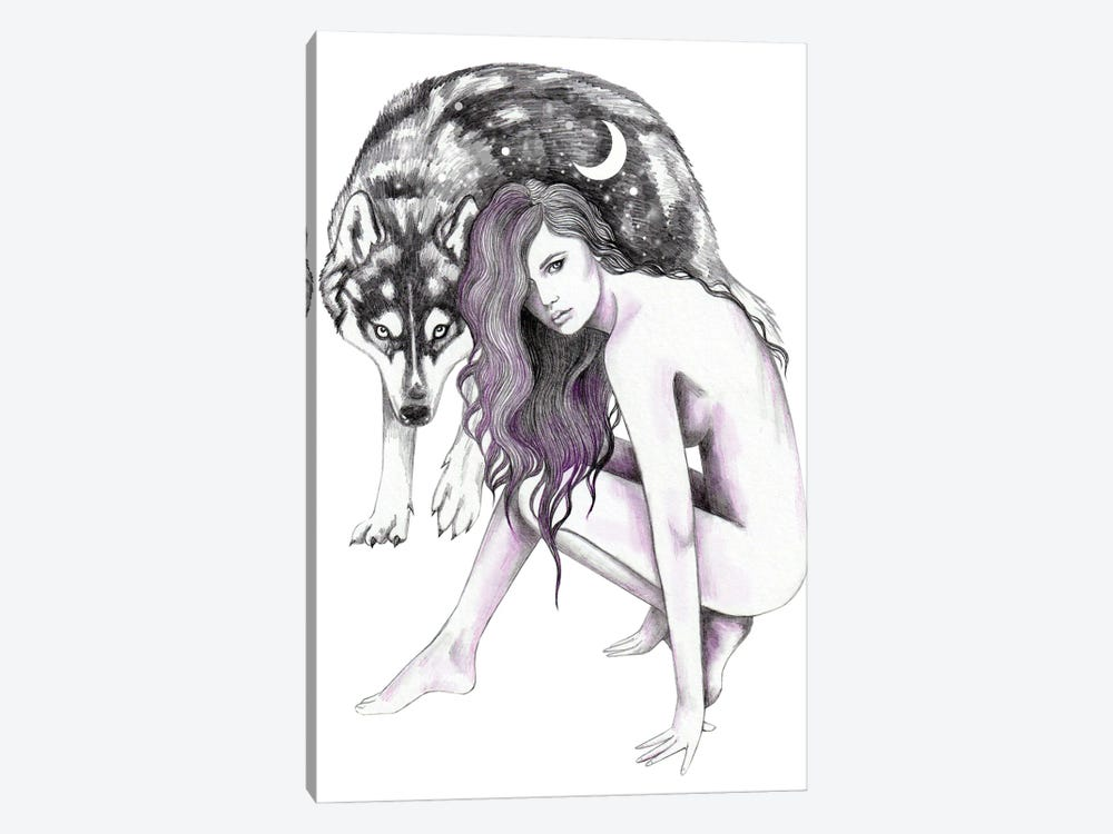 Wolf Woman by Andrea Hrnjak 1-piece Canvas Art