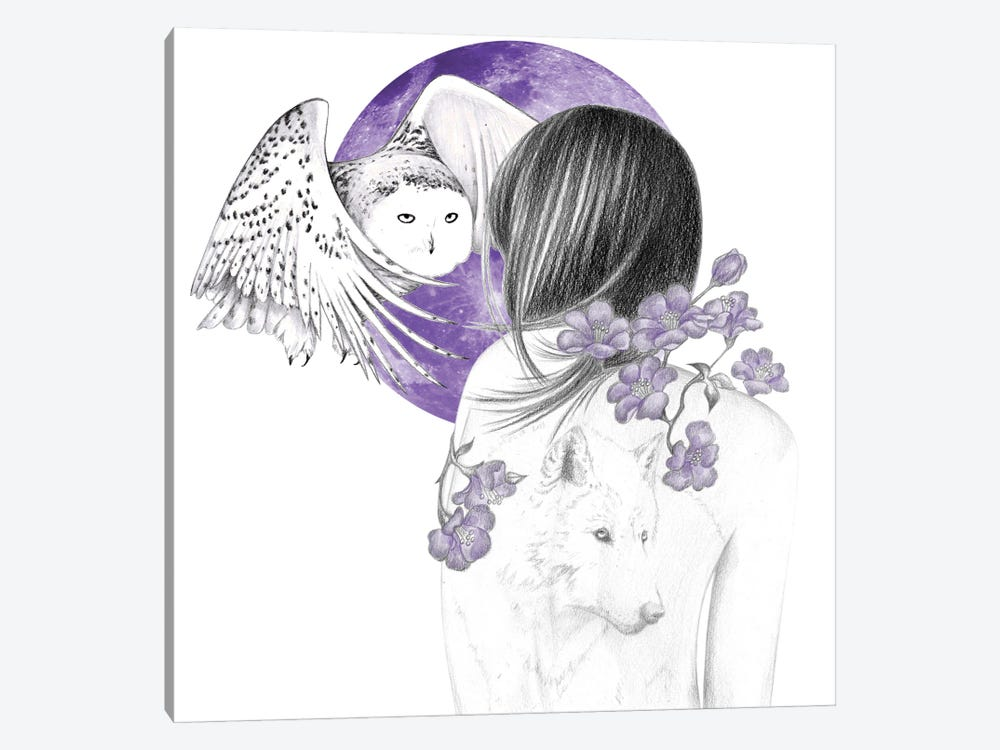Purple Moon by Andrea Hrnjak 1-piece Canvas Print