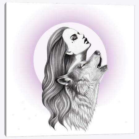 Howling Canvas Print #AHR115} by Andrea Hrnjak Canvas Wall Art