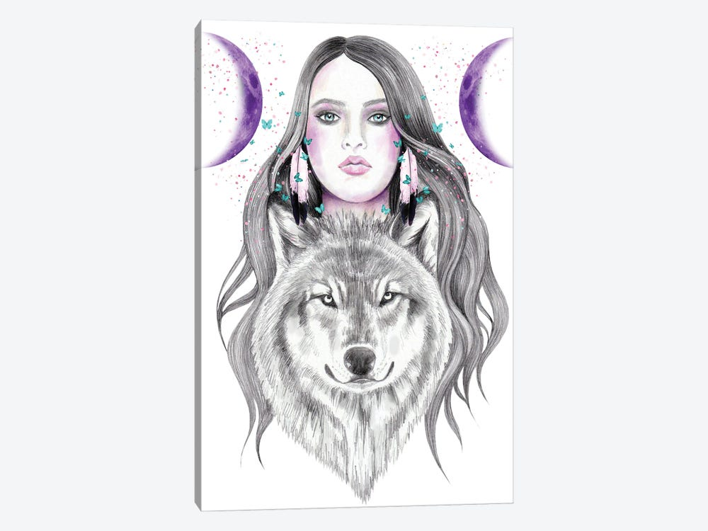 Moon And Moon by Andrea Hrnjak 1-piece Canvas Print