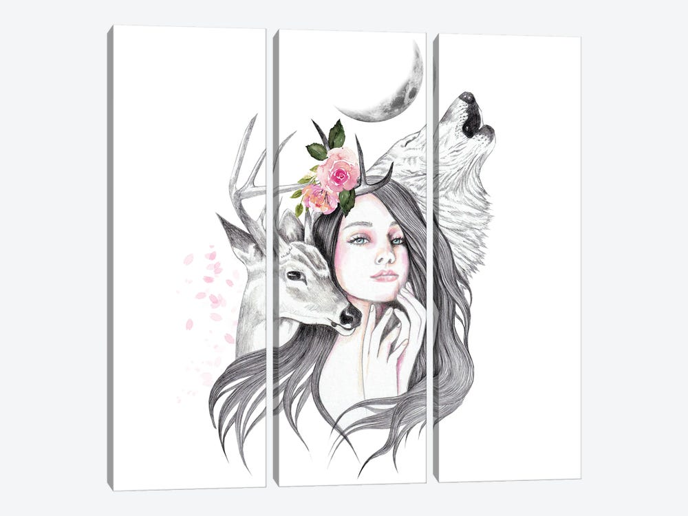 Forest Witch by Andrea Hrnjak 3-piece Canvas Art Print