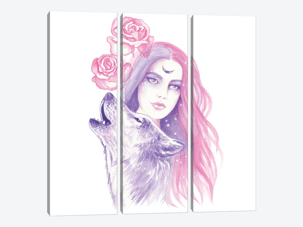 Wild Roses by Andrea Hrnjak 3-piece Canvas Print