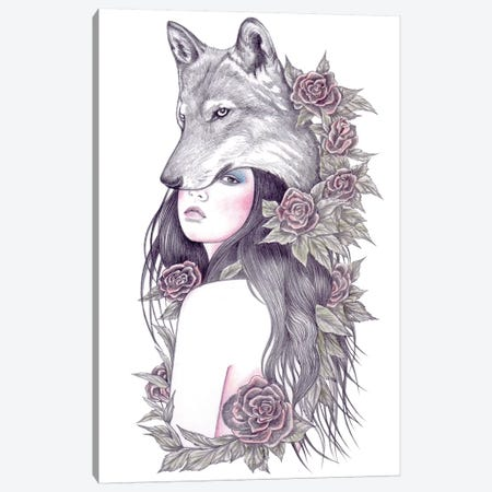 Heart Of The Wolf Canvas Print #AHR15} by Andrea Hrnjak Canvas Artwork