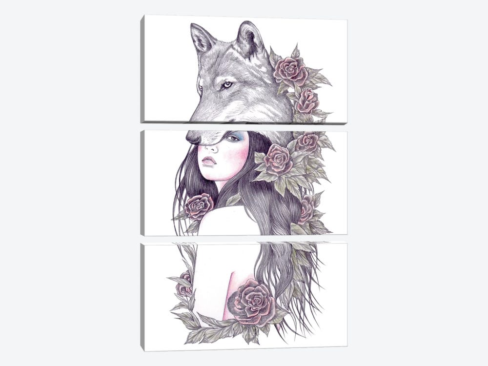 Heart Of The Wolf by Andrea Hrnjak 3-piece Art Print