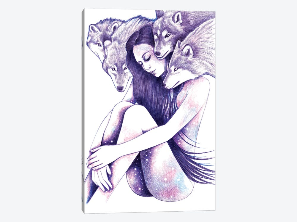 Raised By Wolves by Andrea Hrnjak 1-piece Canvas Art Print