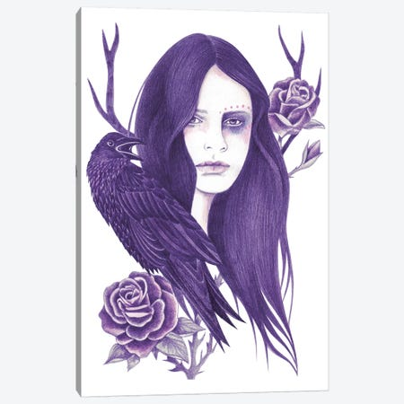 Raven Canvas Print #AHR29} by Andrea Hrnjak Canvas Wall Art