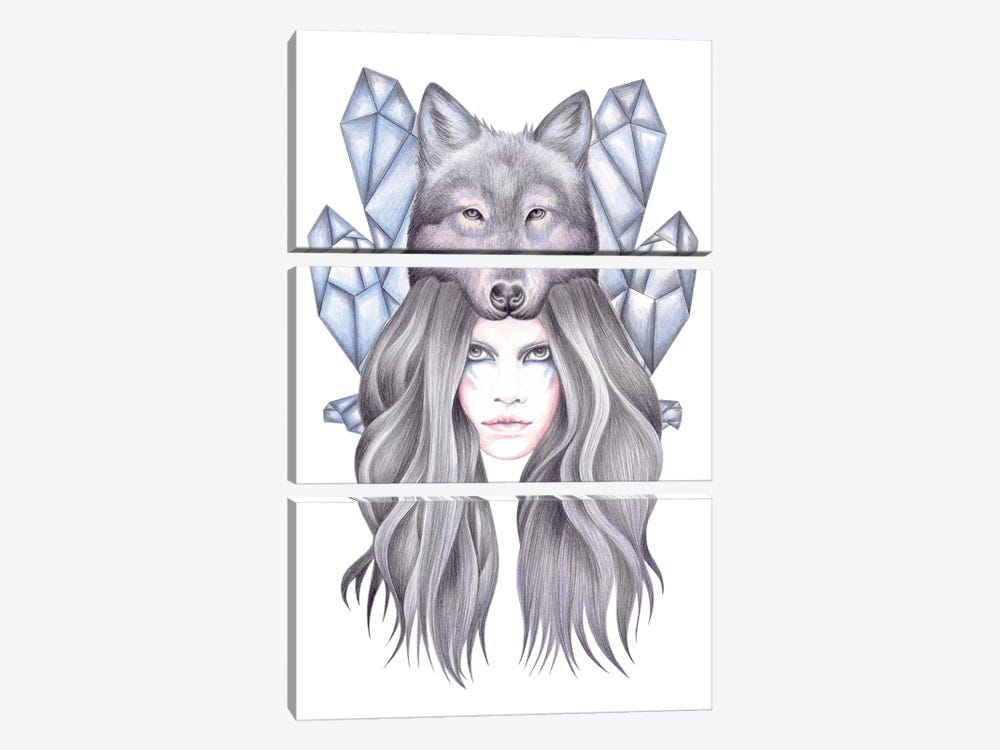 She Wolf by Andrea Hrnjak 3-piece Canvas Art Print