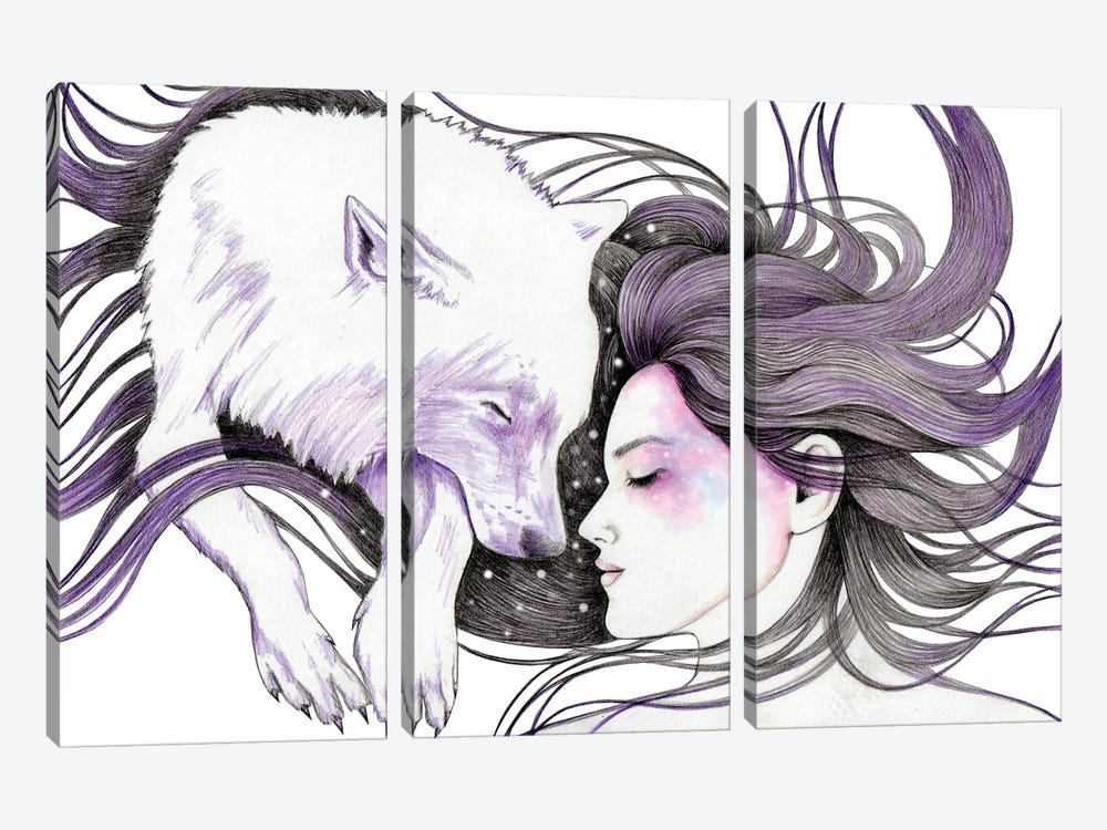 Sleep Like Wolves by Andrea Hrnjak 3-piece Canvas Print