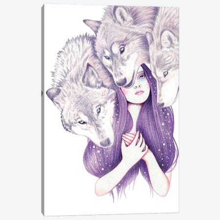 Wolf Pack Canvas Print #AHR49} by Andrea Hrnjak Canvas Art