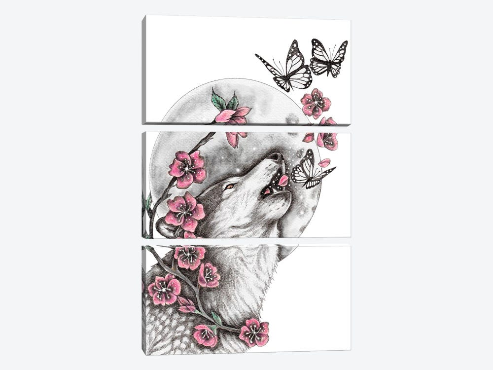 Call Of The Wolf by Andrea Hrnjak 3-piece Canvas Art Print