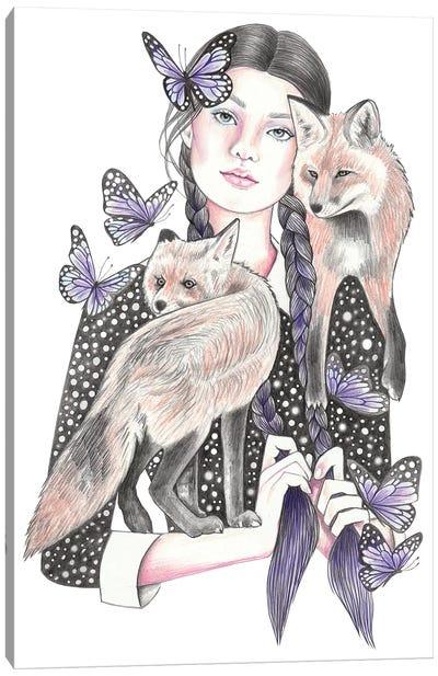 Fox By Night Canvas Art Print