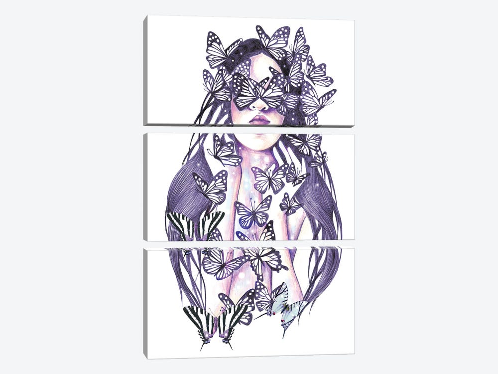 Lady Butterfly by Andrea Hrnjak 3-piece Canvas Wall Art
