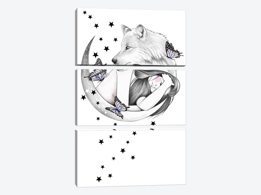 Over The Moon by Andrea Hrnjak 3-piece Canvas Art