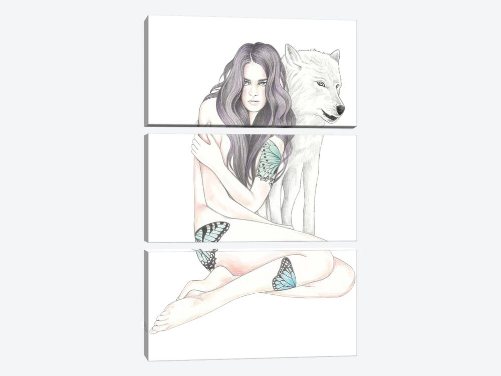 She Wolf II by Andrea Hrnjak 3-piece Canvas Art Print