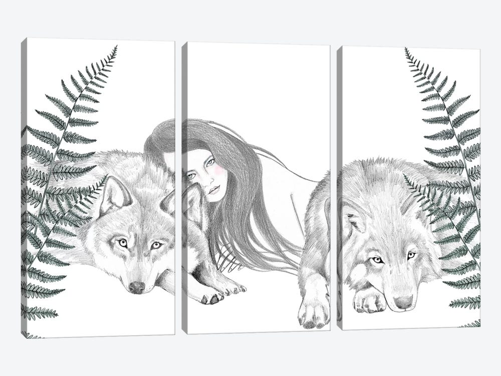 Wolf Pack II by Andrea Hrnjak 3-piece Canvas Print