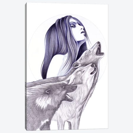 Call Of The Wolves Canvas Print #AHR6} by Andrea Hrnjak Canvas Artwork
