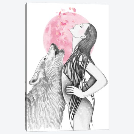 Pink Moon Canvas Print #AHR73} by Andrea Hrnjak Art Print