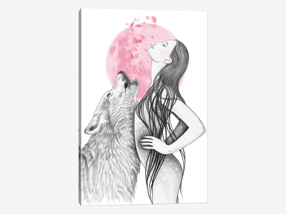 Pink Moon by Andrea Hrnjak 1-piece Canvas Print