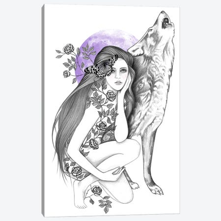 Night Of The Wolf Canvas Print #AHR75} by Andrea Hrnjak Canvas Wall Art