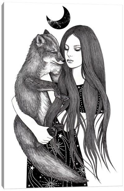Night Foxes Canvas Art Print