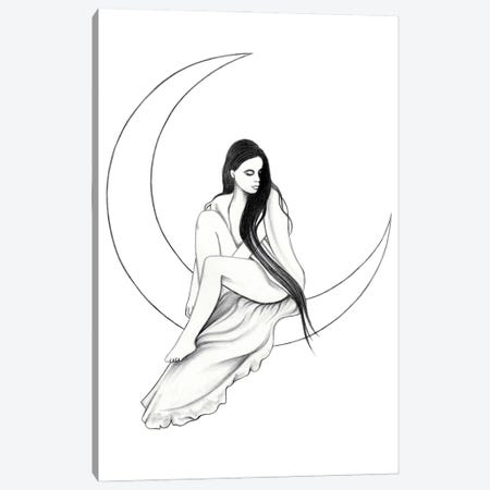 Moon Canvas Print #AHR87} by Andrea Hrnjak Art Print