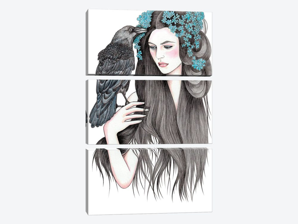 Crow by Andrea Hrnjak 3-piece Canvas Art Print