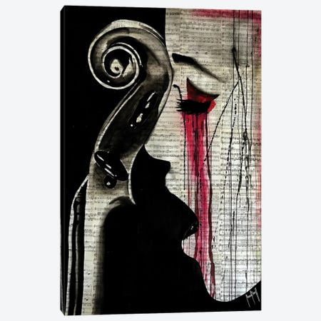 Woman Cello Canvas Print #AHS46} by Ahmad Shariff Canvas Wall Art