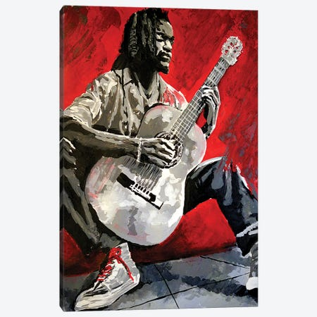 Jazz Player Canvas Print #AHS87} by Ahmad Shariff Canvas Art