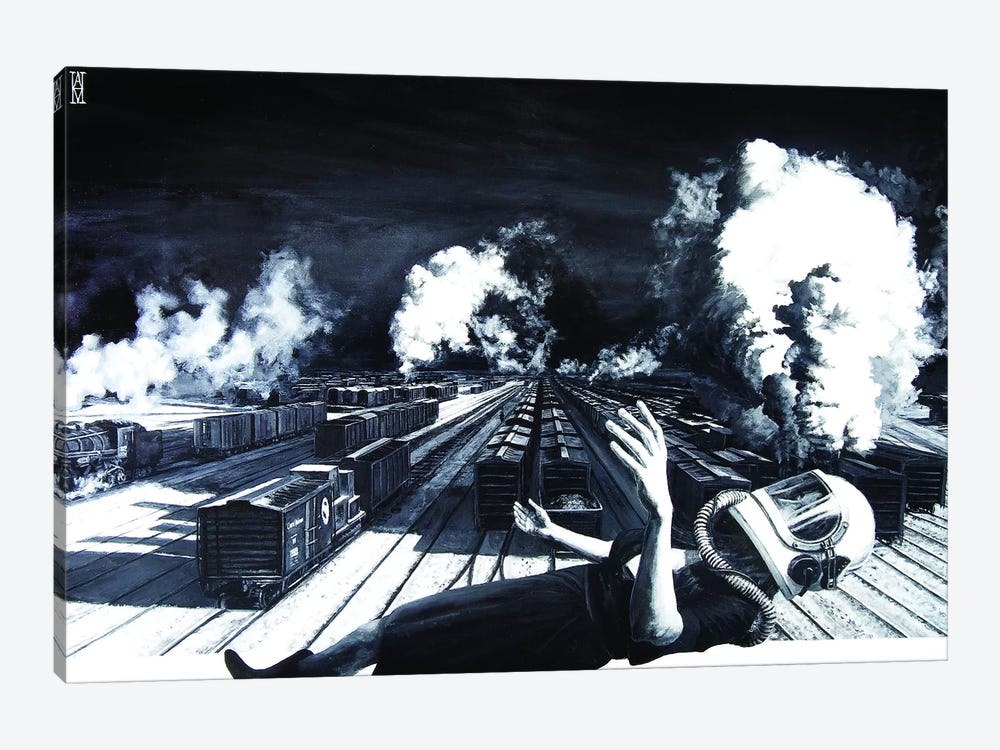 Are We High Enough To Clear These Tracks by Alec Huxley 1-piece Canvas Art Print
