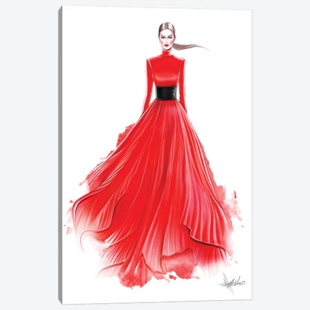 Red Red Dress Canvas Print #AHV25} by AhVero Art Print