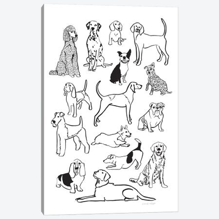Dog Pile Canvas Print #AHW18} by And Here We Are Canvas Wall Art