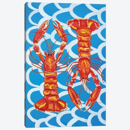 Langoustines On Blue Wavey Canvas Print #AIE15} by Alice Straker Canvas Art