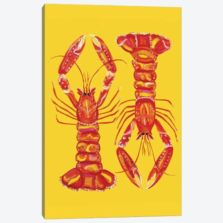 Langoustines on Yellow Canvas Print #AIE17} by Alice Straker Canvas Wall Art